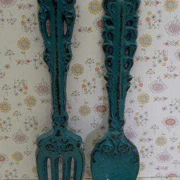 Fork Spoon Set Wall Decor Shabby Chic Aqua Lagoon Teal Blue Rustic Weathered Distressed Kitchen Home Decor Oversized Country Chic Wall Art