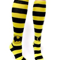 Batman Logo Knee High Black and Yellow Striped Socks