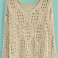Beige Long Sleeve Hollow Batwing Pullovers Sweater - Sheinside.com