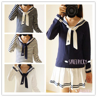 4 Colors Sailor Long Sleeve Jumper Shirt Top SP141501 from SpreePicky