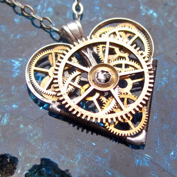 "Mini Watch Heart Necklace ""Entranced"" Elegant Industrial Heart Pendant Steampunk Sculpture Gershenson-Gates Mechanical Mind Fall Autumn"