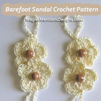 Crochet Pattern Barefoot Sandals with Beads - Beach Sandals Wedding Sandals One Size Fits Tweens, Teens and Women PDF Instant Download