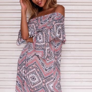 Strapless Trumpet Sleeve Printed Dress  12185
