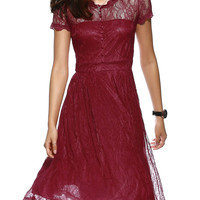 Scalloped Button Front Layered Lace Dress