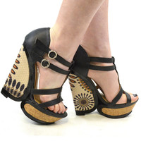 Pinwheel Pavillion Cork Heel Wedges