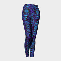 Electric Pulse, Compression fit performance Leggings, XS,S,M,L,XL, Hand Made Activewear, Purple, Azure, Yoga pants