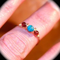 Turquoise and Ruby thin Ring, Stacking, Ruby Ring Handmade, Knuckle Ring, Blue Jewelry, Wire Wrap Ring/Thin Ring/Minimalist Ring