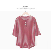 Buy CLICK Elbow-Sleeve Stripe Henley | YesStyle