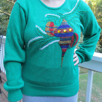Green sweater, tacky christmas sweater, christmas sweater, unique sweater, tacky sweater party, ugly sweater,