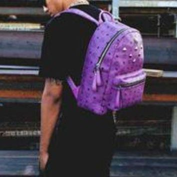 PEAPIH3 MCM Backpack Girl Boy Bag Backpack B-LLBPFSH Purple
