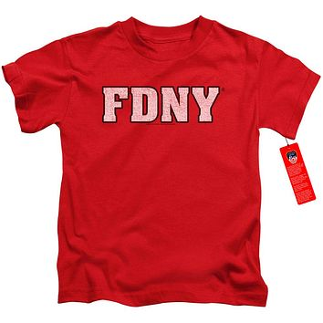 FDNY Boys T-Shirt New York Fire Dept Logo Red Tee