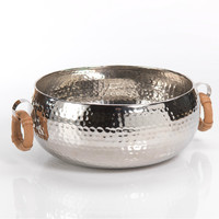 Hammered Bowl with Leather Handles