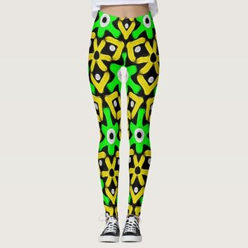 Wild Tribal Abstract Pattern in Green and Yellow Leggings