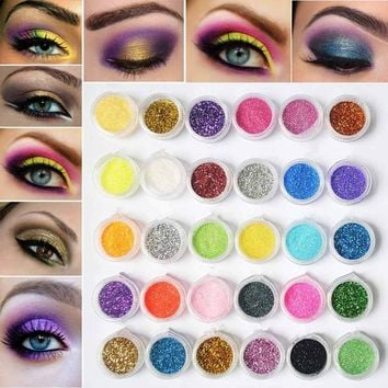 30pcs Mixed Colors Eyshadow Kit Mineral Eye Shadow Powder Glitter Sequins Eye Pigment Makeup Cosmetics with Sparkles
