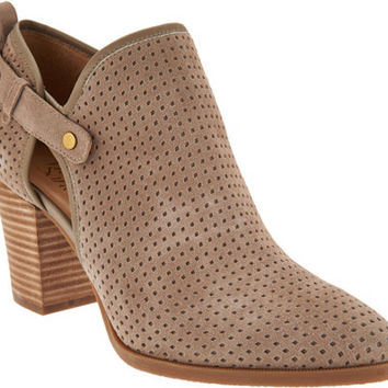 Franco Sarto Suede Perforated Ankle Boots - Dakota — QVC.com