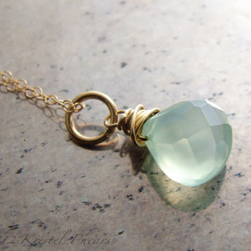 Chalcedony necklace - aqua blue mint chalcedony 14k gold-filled pendant eco-friendly bridesmaid bridal wedding birthday Mother Gift