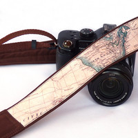 World Map Camera Strap. Brown Camera Strap. Photo camera Accessories. SLR, DSLR Camera Strap. Gift For Photographer.