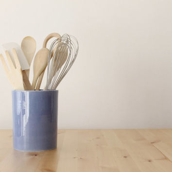 Blue canister Utensil container Revamp your kitchen Optional cork - Ready made