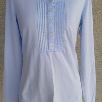 Boho Women's blouse - small light blue Liz Claiborne  - vintage - hippie blouse- long sleeves - scoop neck - five button front -