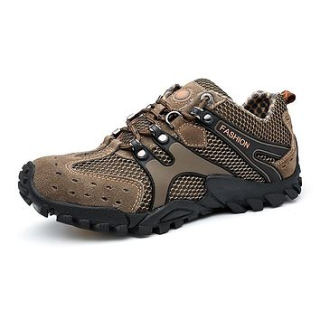 Men Hiking Shoes Sneakers Rubber Mountain Shoes Climbing Men Leather Summer Outdoor Trekking Shoes Men Hiking Boots