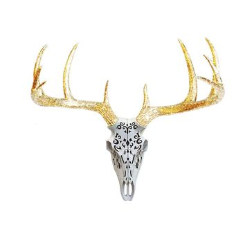 Large Carved Deer Head Skull | Faux Taxidermy | White + Gold Glitter Antlers Resin