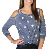 long sleeve cold shoulder top with star print and tie front