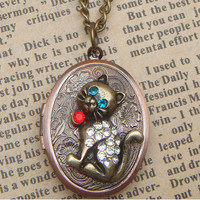 Steampunk Cat Locket Necklace Vintage Style by sallydesign on Etsy