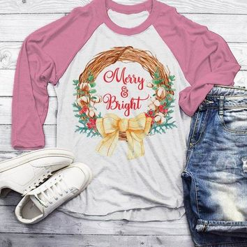 Men's Christmas T Shirt Christmas Shirt Christmas Outfit Christmas Wreath Merry And Bright Shirt 3/4 Sleeve Raglan