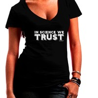 In Science We Trust Text Juniors V-Neck Dark T-Shirt