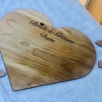 Wedding Guest Book Personalized Wooden Heart, Guestbook Alternative for Wedding Wooden Heart Engraved Names, Rustic Wedding