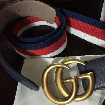 Gucci Belt 'Size-36-38' (2018 Gucci Limited Edition white, red and blue stripe detailing)