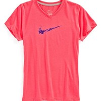 Girl's Nike 'Swoosh Fill' V-Neck Tee