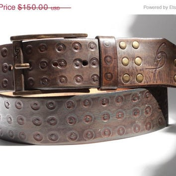 ON SALE Hand tooled leather belts by Ishaor