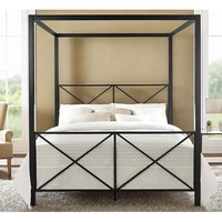 Queen size 4-Post Metal Canopy Bed Frame in Black