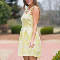 Pleats Flare With Me Dress, Yellow