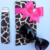 Giraffe Animal Print Steering Wheel Cover with Bow and Bling