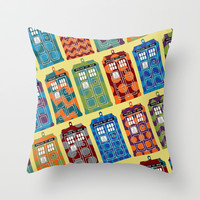 tardis Throw Pillow by Sharon Turner
