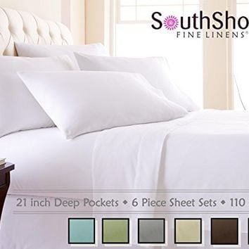 Southshore Fine Linens 6 Piece - Extra Deep Pocket Sheet Set - WHITE - King