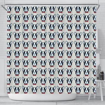 French Bulldog Pattern Print Limited Edition Shower Curtains-Free Shipping