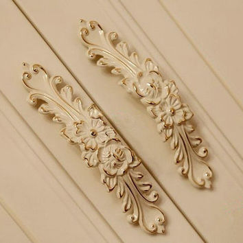 5 IN 128 Dresser Drawer Pulls Handles Cream White Rose Flower Gold Silver / Victorian Furniture Decorative Knobs Cabinet Handle Pull