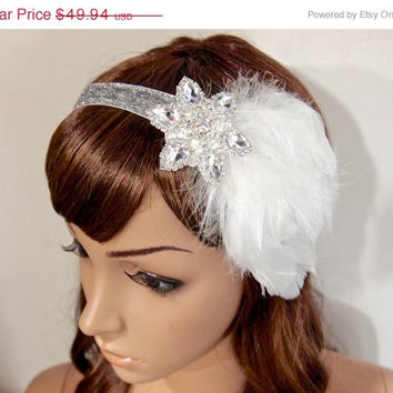 40% SALE Great Gatsby Dress Headpiece 1920s Flapper Headband headbands for 1920s dresses White feather Vintage Glitter Ribbon