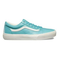 VANS Old Skool Cup Mens Size 9.5 Leather Aqua Sea Blue Skateboarding Fashion Shoes