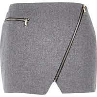 River Island Womens Grey wool mini pelmet skirt