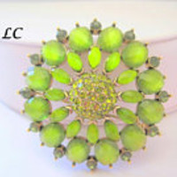 Peridot Rhinestone  Brooch, Signed Liz Claiborne,  Vintage Faceted Glass Cabachons
