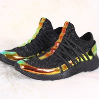 Fashion Shoes For Women Lightweight Casual Running Walking Holographic Knit Strappy Sneaker For Women By LUD | Women Holographic Knit Strappy Slip-On Rigged Sneaker Fashion Slip On Sneaker Assorted Colors