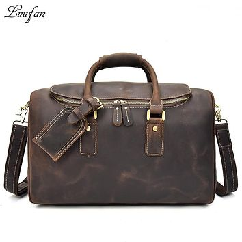 Genuine leather Men travel duffel Zipper around thick cow leather travel bag vintage Real leather weekend bag brown luggage case