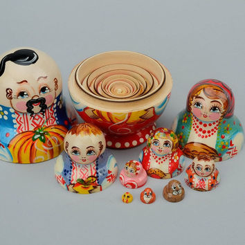 "Handmade matryoshka doll ""Cossack's family"""