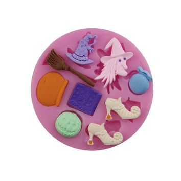 Witch Series Silicone Halloween Party Decor Mold Pumpkin Soup Shoes Hat Bells Broom Dessert Jelly Candy Cake Fondant Mould