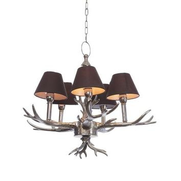 Bangor Antler Chandelier Polished Nickel