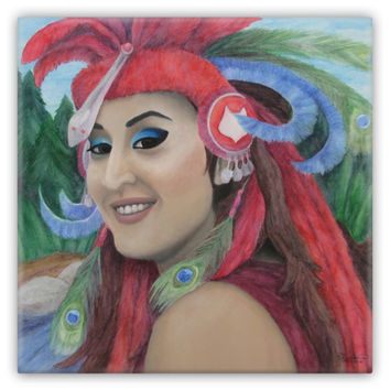 Medicine Woman - Metal Magnet of Acrylic Paint and Watercolor Pencil Fine Art